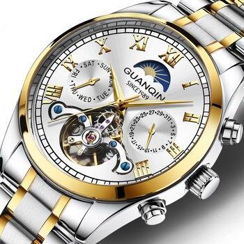 GUANQIN Luminous Men's Watch Mechanical Tourbillon Man Clock Waterproof Automatic Male Watches Wristwatch Luxury Brand 2020 Часы