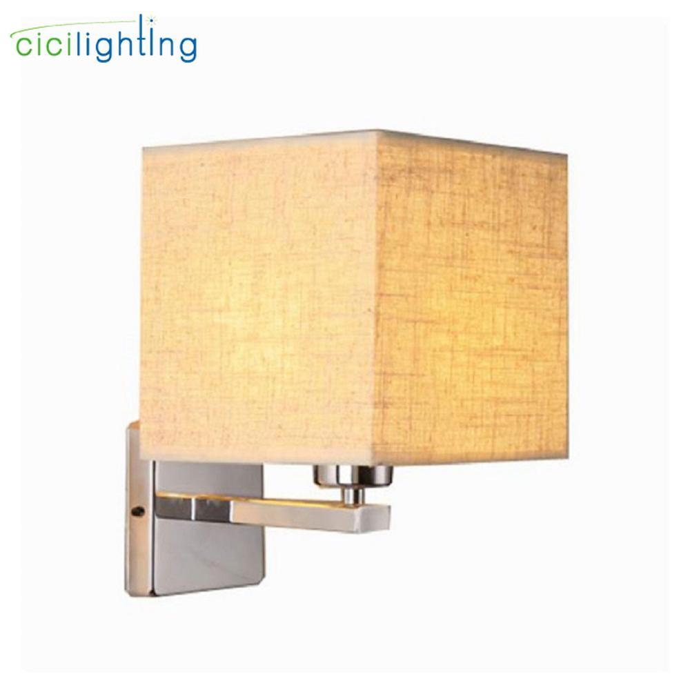 US $24.99 |Moderne wand lampe led nacht lampe schlafzimmer hotel treppen  wandleuchter beleuchtung Edelstahl schwarz weiß Stoff lampenschirm  leuchte-in ...