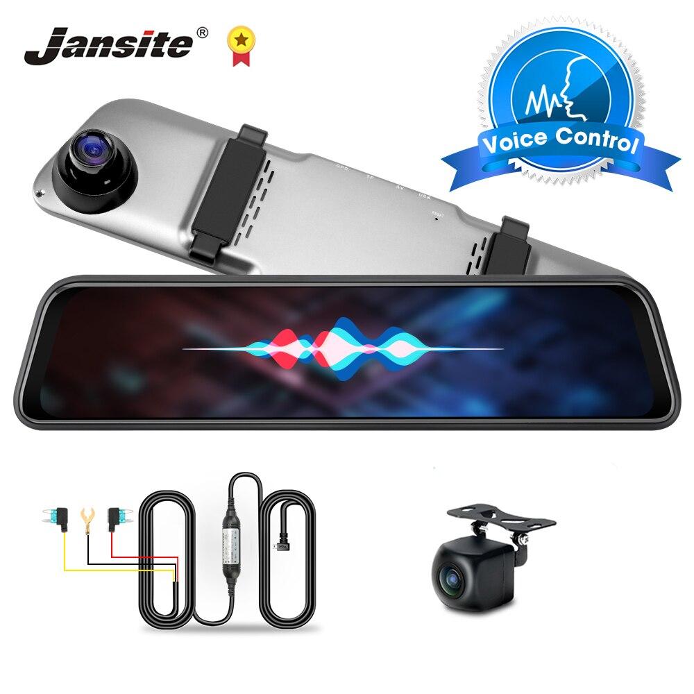 Jansite 12 polegada traço cam 2k ultra hd gravador de câmera do carro dvr espelho registrador 1080p câmera visão traseira controle voz visão noturna