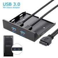 Hohe Geschwindigkeit 20Pin 2 Port USB3.0 Hub USB 3.0 Front Panel Kabel Adapter Kunststoff Halterung für PC Desktop 3,5 Zoll Floppy bay