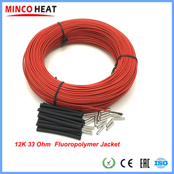 Fluoropolimer System kabli grzewczych z włókna węglowego 2mm 12K 33Ohm przewód elektryczny podłogowy z włókna węglowego tanie i dobre opinie MINCO HEAT CF-12-F Other Stranded Ogrzewanie Izolowane 7~300V 33 Ohm m Fluoropolymer 250C degrees 2 0+-0 1mm