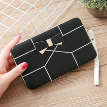 Womens wallet long Bow Purse female famous brand card geometric cellphone pocket leather clutch women lunch box 499