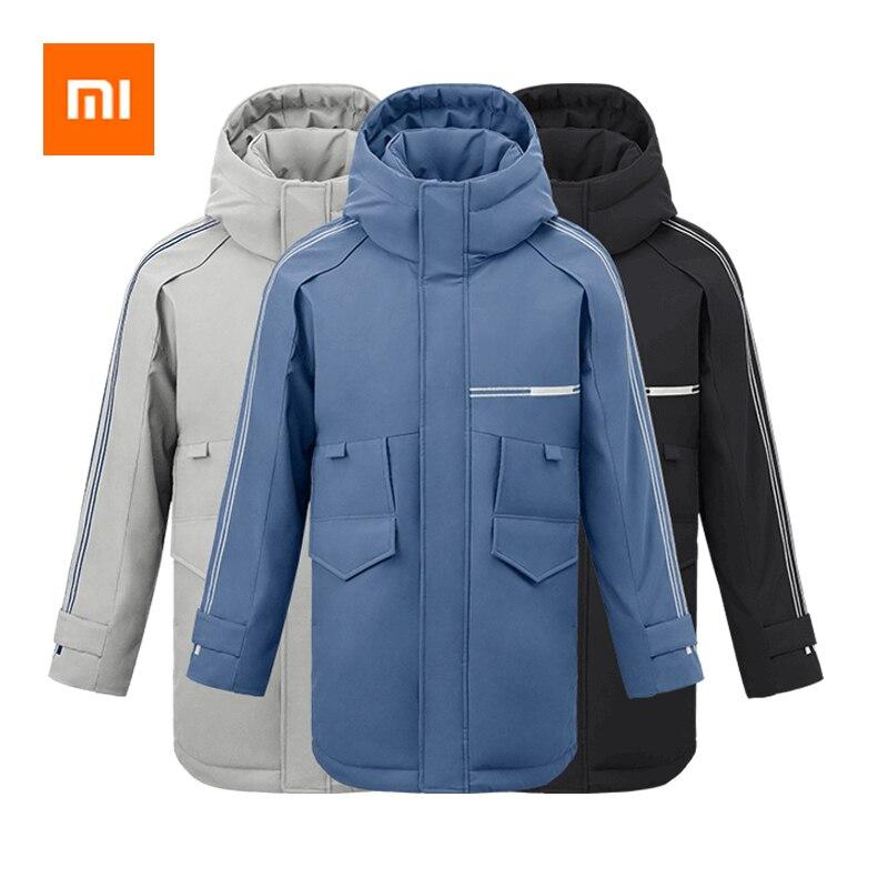 Xiaomi 90Fun moda 3D bordado 90% pato abajo chaqueta Ipx4 impermeable Anti perforación tela con capucha hombres abajo chaquetas abrigos