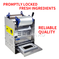 Cooked Food Preservation Box Sealing Machine Lunch Box Packing Machine Semi automatic Sealing Machine Fast Food Product 220V 1PC