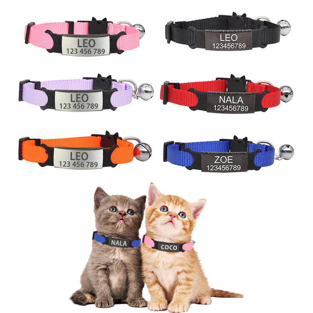 Pribadi ID Ukiran Kucing Kerah Keselamatan Memisahkan Diri Anjing Kecil Lucu Nilon Adjustable untuk Anak Anak Kucing Kalung
