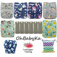¡Regalo gratis! pañales de bebé ajustables de bolsillo reutilizables tela Interior de gamuza pañal lavable Ohbabyka insertos de carbón de bambú
