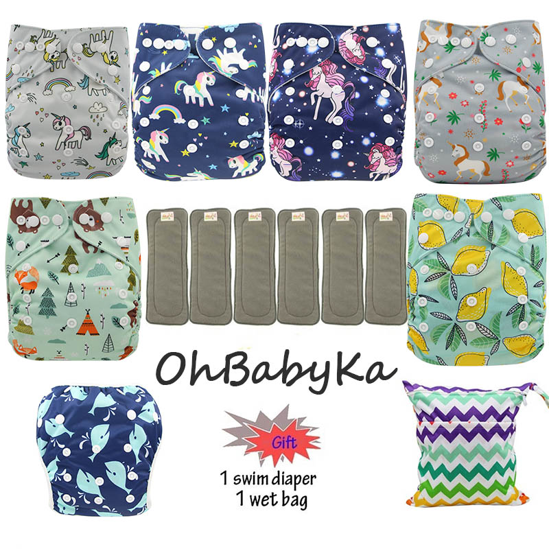 FREE Gift!Reusable Pocket Adjustable Baby Nappies Suede Cloth Inner Cloth Diaper Washable Ohbabyka Bamboo Charcoal Inserts