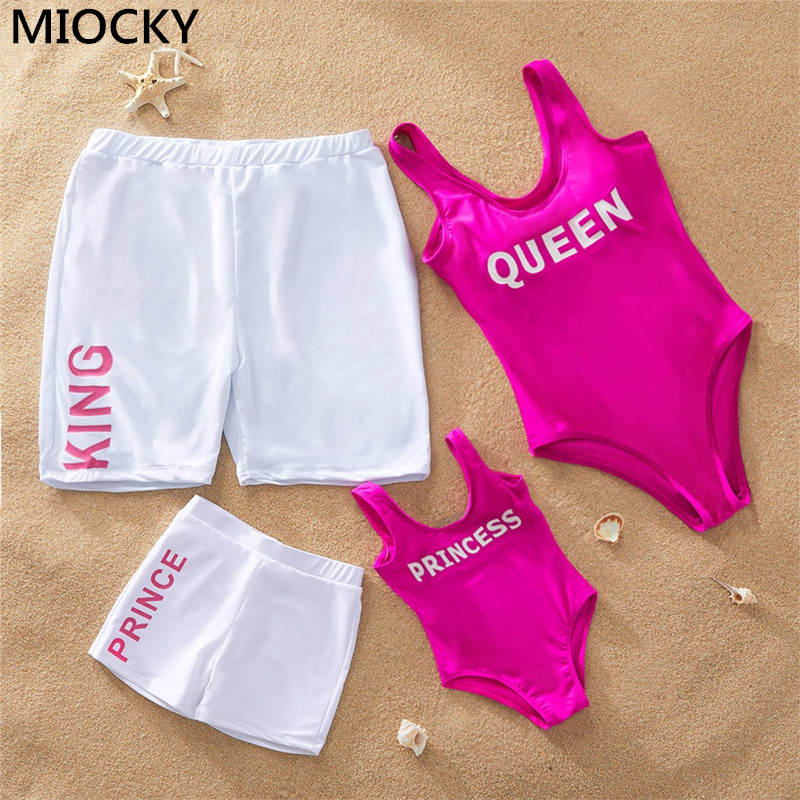 Family Swimsuits NEW Mom And Me Letter Printed One-piece Swimsuit Mother Daughter Swimwear Dad And Son Matching Beach Shorts
