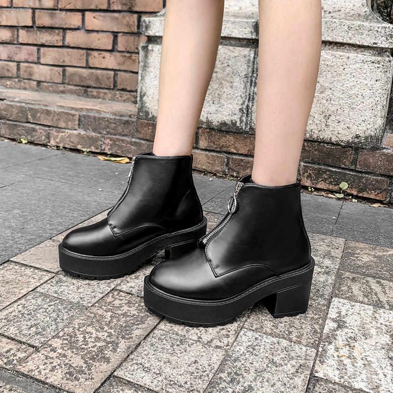 YMECHIC 2019 Thời Trang Đế Dày Punk Giày Bốt nữ Đế thô Khóa Kéo Mặt Trước Thiết Kế Giày Cao Gót Hộp Đêm Gothic Cổ Chân Khởi Động giày