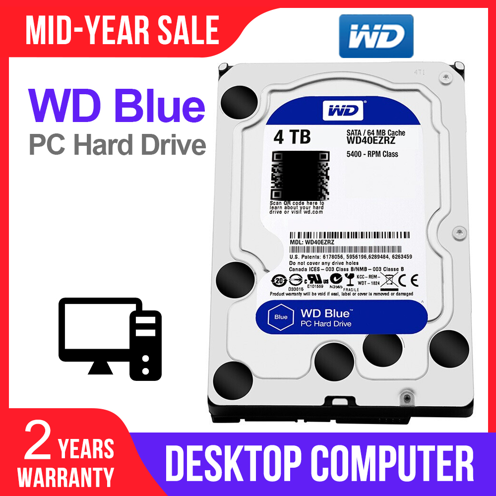 WD Western Digital Blue 4TB 3.5'' Desktop Hdd Sata Internal Hard Disk Harddisk Hard Drive Disque Dur Desktop HDD for PC