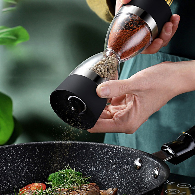 Manual 2 in 1 Salt Pepper Mill Grinder Hourglass Shape Dual Container Spice Mill Muller Seasoning Ginders Kitchen Cooking Tools(China)