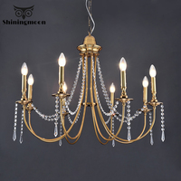 Modern Led Chandeliers Decor Crystal Chandelier for Hotel Kitchen Hanging Lamp Retro Gold Loft Hanging Lights Lighting Lustre