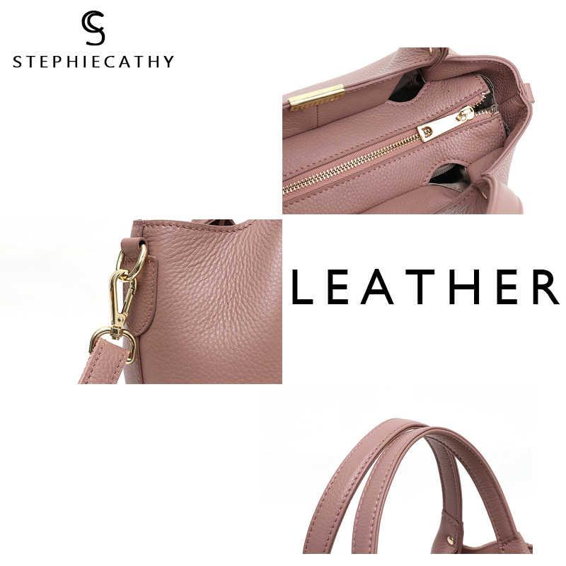 SC 100% Hakiki Deri Kova Çanta Kadınlar casual Tote üst kolu omuz çantaları Marka Tasarımcısı Bayanlar Crossbody askılı çanta