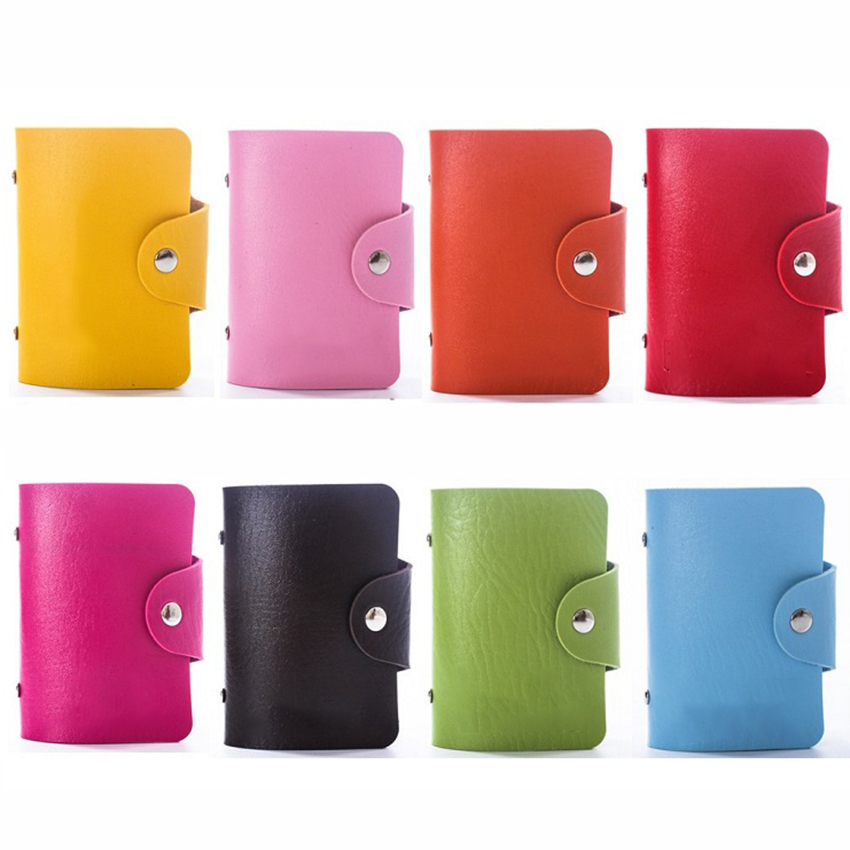 24 Slots PU Portable Mini Candy Color Card Holder With Button Commercial Business Card Books Business Name Bank Card Stock