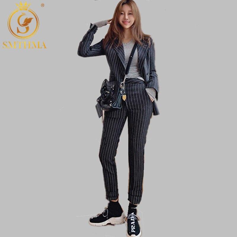 2019 OL Style 2 Pieces Set Striped Women Pant Suit Sashes Side Split Blazer & Elastic Waist Pencil Pant Casual Female Suits