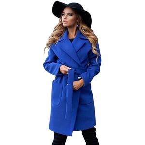 Image 5 - MVGIRLRU/женские пальто из шерсти и смески; Женские парки с карманами; Куртки с поясом; Цвет коричневый, кофейный, черный, розовый; Верхняя одежда