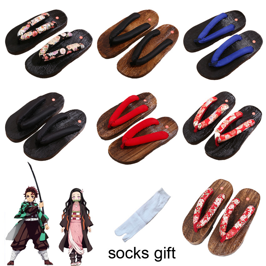 Demon Slayer Anime Cosplay Shoes Men Women Traditional Samurai Japanese Geta Clogs Wooden Flip Flops Kamado Nezuko Tanjirou