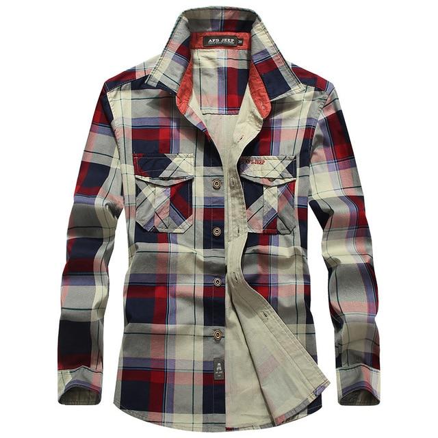 Men's Casual Cotton Plaid Shirt