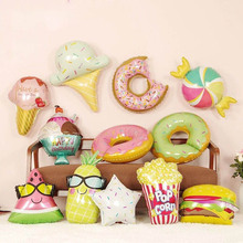 Kids Toys Donuts Ice-Cream Popcorn-Foil Balloons Baby Shower-Happy-Birthday-Party-Decorations