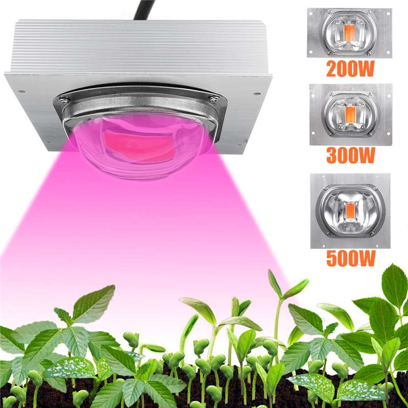 High PAR COB LED Grow Light Full Spectrum 200/300/500W LED Plant Grow Lamp With Glass Lens For Greenhouse Hydroponic Plant