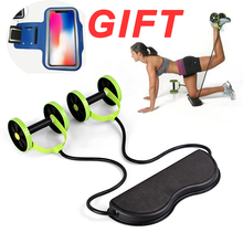AB Wheels Abdominal Roller Resistance Bands Pull Rope Exercise at Home for Muscle Trainer Exerciser Fitness Equipment
