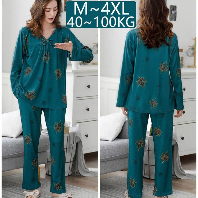 Размера плюс 4XL пижамы наборы с v-образным вырезом Женские пижамные комплекты с длинным рукавом Хлопковое ночное белье женские пижамы, домаш...