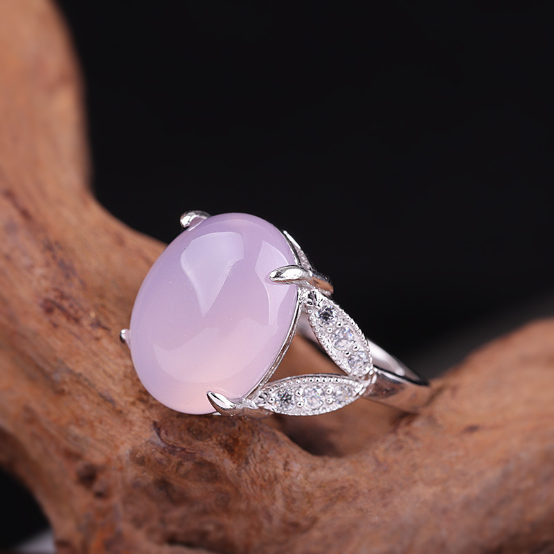 Personal Quality Silver Fashion Small Fresh Hand Ornament S925 Pure Silver Jewelry Women's Opening Pink Chalcedony Ring