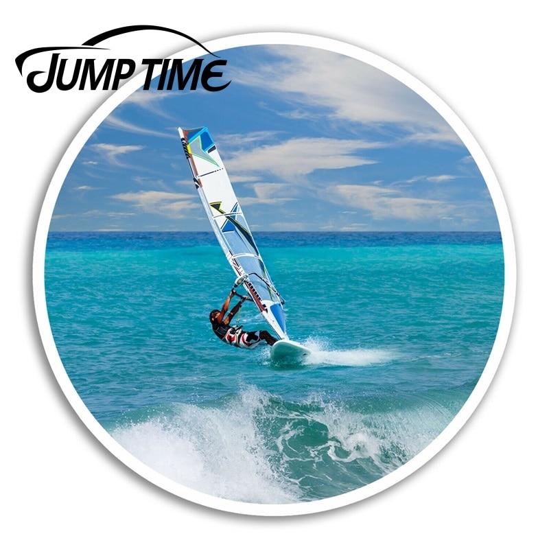Jump time para windsurfer adesivos de vinil onda surf legal adesivo bagagem portátil decalque traseiro pára-brisa à prova dwaterproof água acessórios do carro