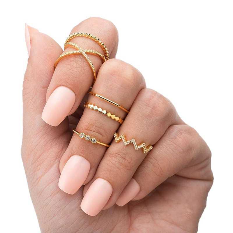 6 stk/set eenvoudige stijl cross multi-gelaagde zirkoon ring vrouwen wave patroon joint anillos mujer ring set ringen voor vrouwen