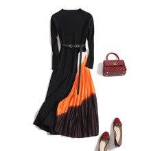 2020 الخريف الشتاء جديد المرأة التدرج اللون خياطة محبوك معطف شتاء فستان الإناث طويلة الأكمام Ol ميدي مطوي فستان