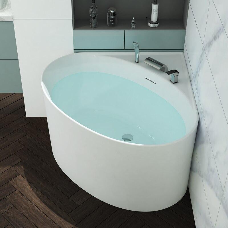 Aojin acrílico banheira pequena família triangular ventilador-em forma de canto doméstico 1000mm comum bacia de banheira independente-0
