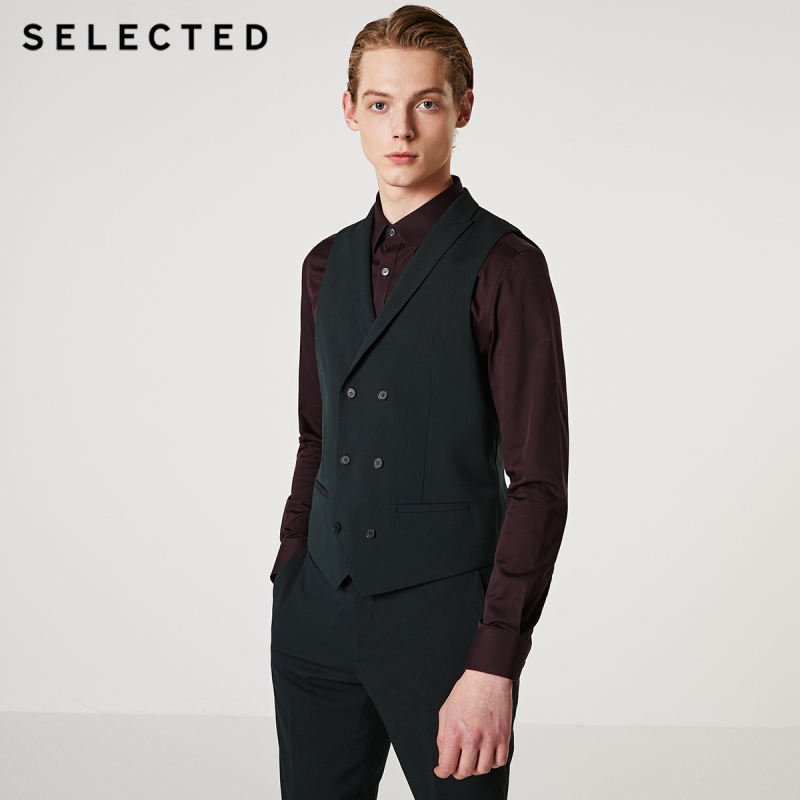 SELECTED Men's Pure Color Double-breasted Business Slim Fit Vest T 419334501