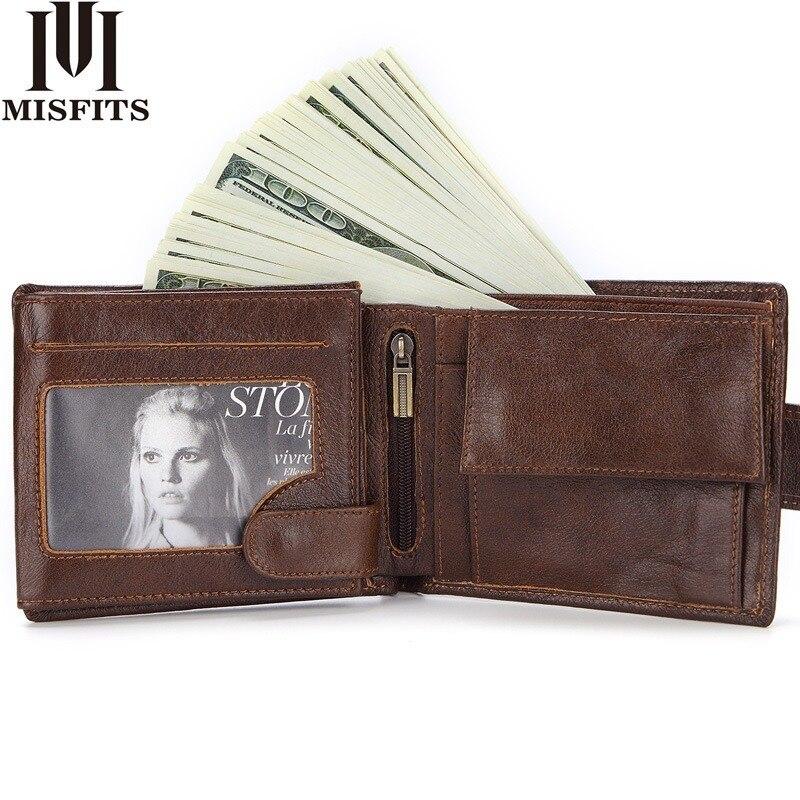 Короткие Кошельки MISFITS мужские из натуральной кожи, винтажный Многофункциональный маленький кошелек с кармашком для денег и карт, простой д...