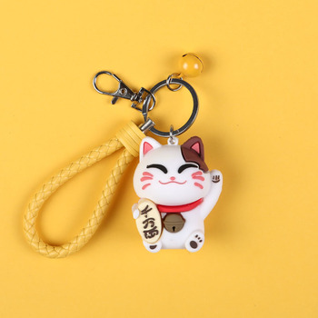 New Fashion Fortune Cat Plastic Keychains Exquisite Multi-color Creative Practical Key Chain Boudoir Honey Small Gift Key Ring image
