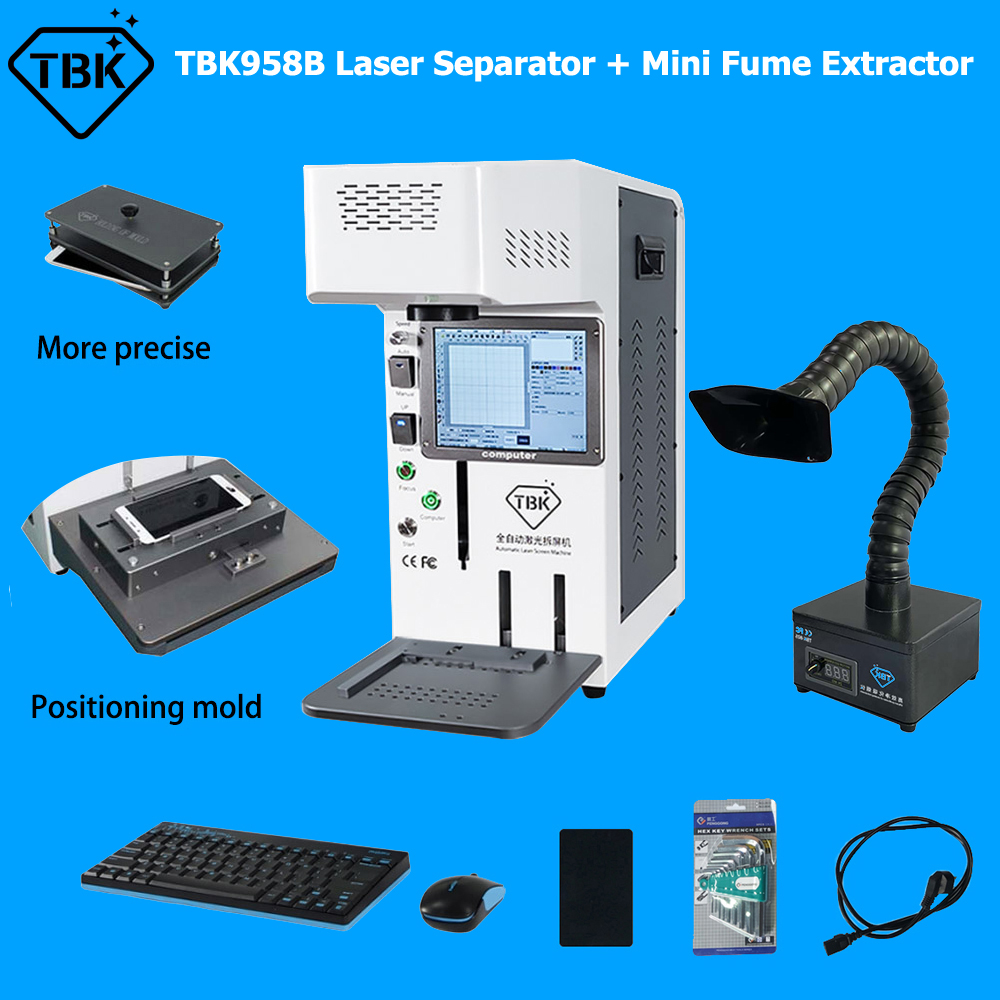 TBK958B Laser Back Glass Removing Machine With Mini Fume Extractor For iPhone For Samsung Mobile Phone LCD Frame Split Refurbish