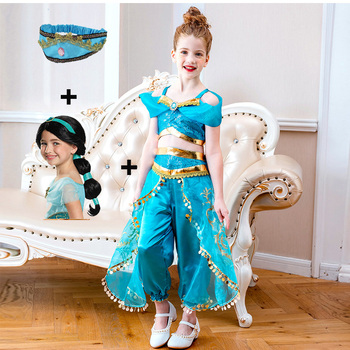 Kids Christmas Cosplay Jasmine Princess Dress Costume 2 Piece Set Indian Belly Dance Costume Girls Fancy Dress Up Party Costume indian princess belly dance tulle feather party mask