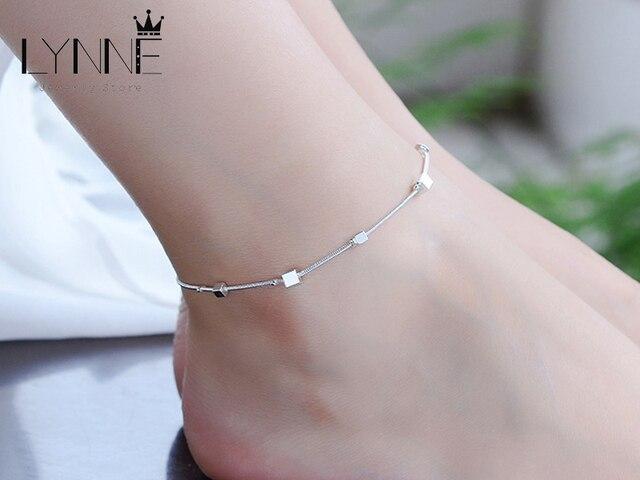 Женский браслет на ногу из серебра 925 пробы с квадратным кулоном