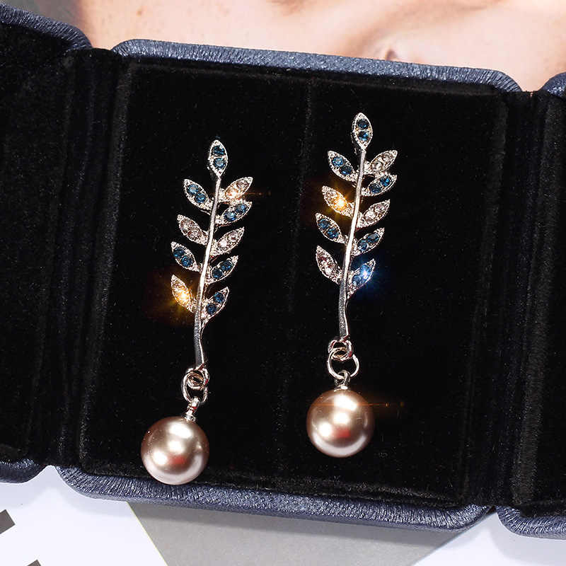 S925 silver needle leaf Pearl Pendant Earrings feminine temperament Korean personality set of long earrings