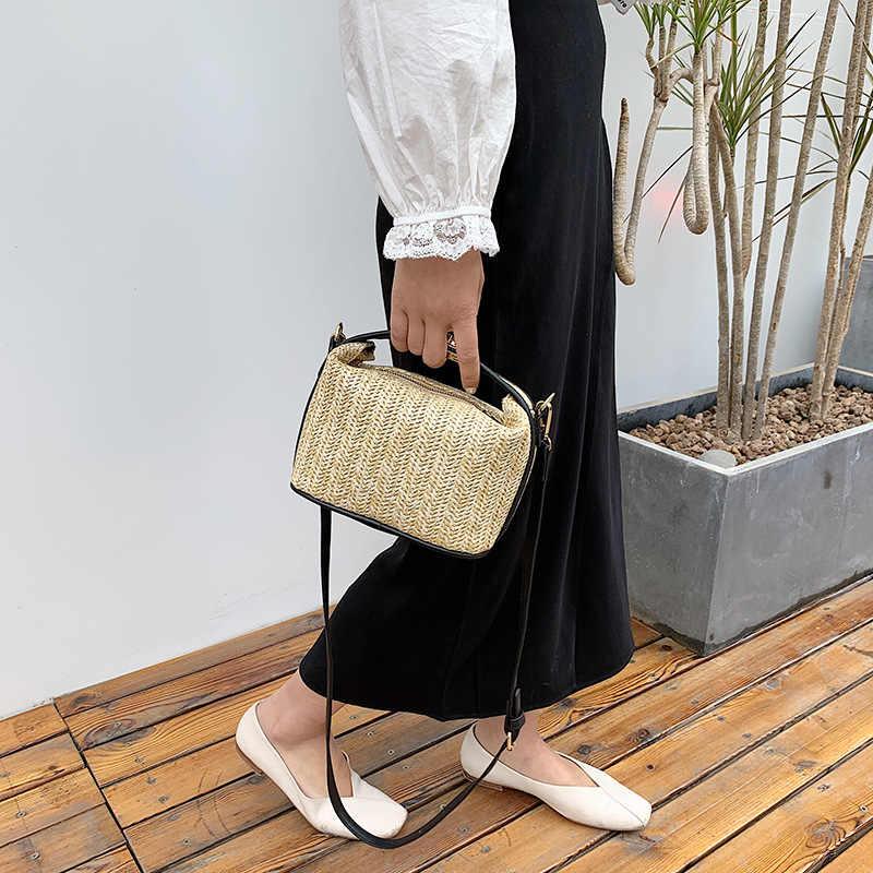 אופנה קש ארוג תיק קטן לנשים פנאי אחוי נייד תיקי כתף תיק קיץ חג חוף Crossbody תיק נשי