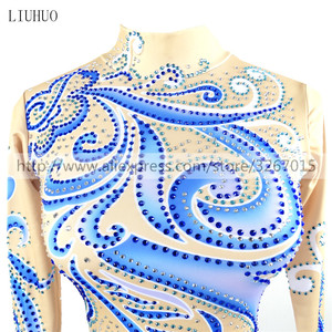 Image 3 - LIUHUO Competition Figure Skating Dress Womens Girls Ice Skating Dress Roller skating long sleeve Adults Kids StandcollarBlue