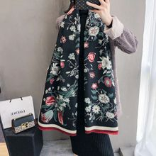 Grube damskie zimowe szale ciepłe kaszmirowe szale elegancki kwiatowy Print Lady Pashmina okłady Foulard chusty z bandaną 2020 Design
