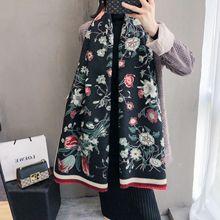 두꺼운 여성 겨울 스카프 따뜻한 캐시미어 Shawls 우아한 꽃 인쇄 레이디 Pashmina 랩 Foulard Bandana 스카프 2020 디자인