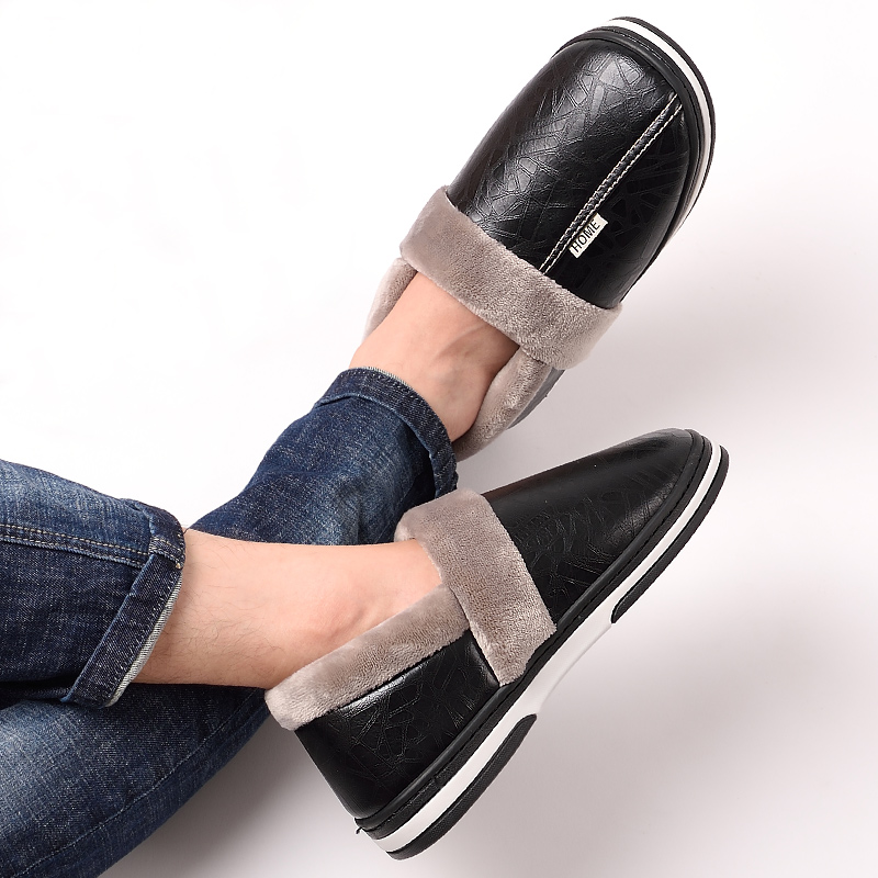Memory Foam Slippers For Men Big Size 45-49 Warm Non-slip Winter Leather House Slippers Men High Quality Indoors Shoes