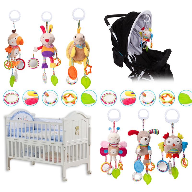 Cartoon Baby Toys 0-12 Months Bed Stroller Baby Mobile Hanging Rattles Newborn Plush Infant Toys For Baby Boys Girls Animal Toys