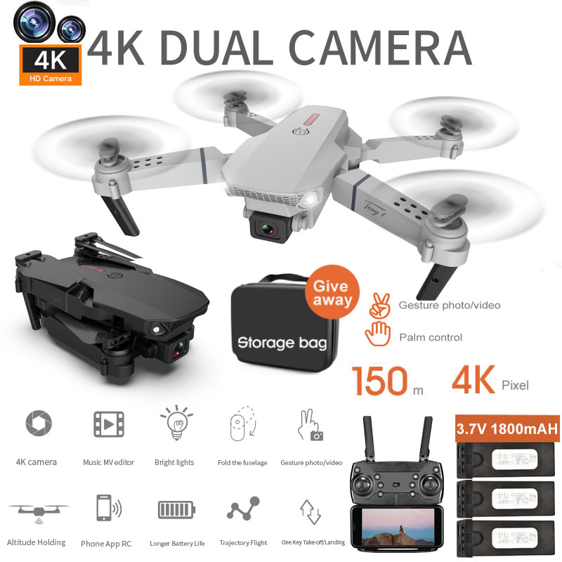 E88 RC Drone 4K HD Dual Camera Foldable Profesional Quadcopter WIFI FPV 2020 New Kids Toys Gift Hight <font><b>Set</b></font> Aircraft Helicopter image