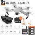 E88 rc drone 4k hd câmera dupla, dobrável, quadcopter, wi-fi fpv, novo, crianças, brinquedos, presente, conjunto de altura helicóptero de aeronaves