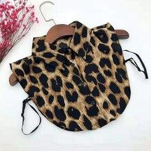 Women's Chiffon Shirt 2019 Autumn Leopard Print Fake Collar Snake Silk Lace Tie