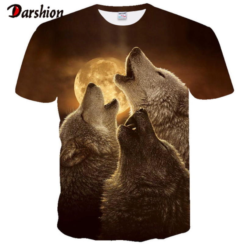 Hot New Men Leisure 3D Printing T Shirt Personality Design Funny Wolf Head Printed Male T-shirts Summer T-shirts Brand Clothing