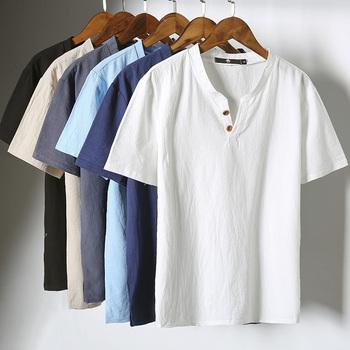 Plus rozmiar 5XL T koszula mężczyzna bawełniana pościel na lato z krótkim rękawem V neck Tees Casual Men odzież śmieszne koszulki z krótkim rękawem Camisetas Hombre tanie i dobre opinie V-neck Topy Oxford COTTON Linen Na co dzień Stałe