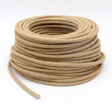 Câble électrique Flexible tressé en corde de chanvre Vintage, fil électrique pour luminaires suspendus rétro, 5/10/20m 2x0.75mm